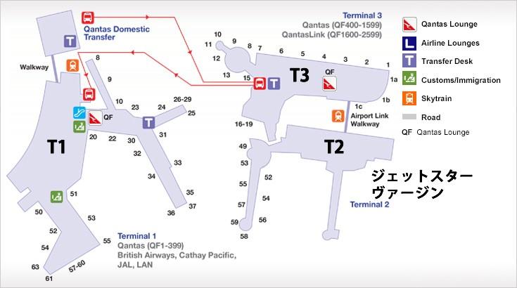 シドニー空港見取り図